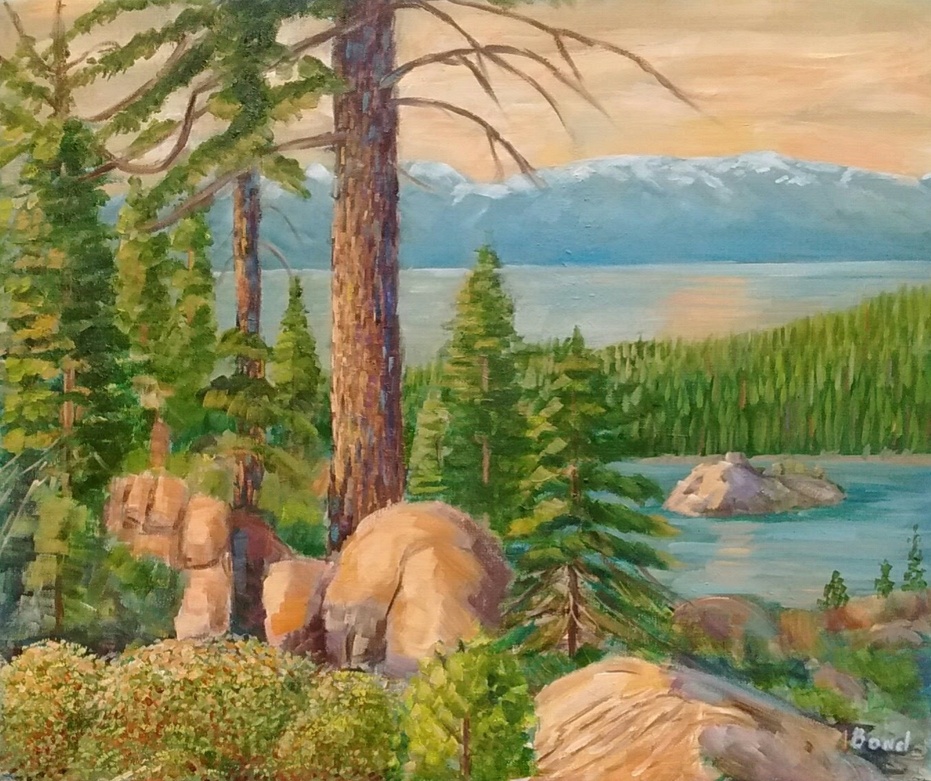 Overlooking Emerald Bay Oil 20 x 24